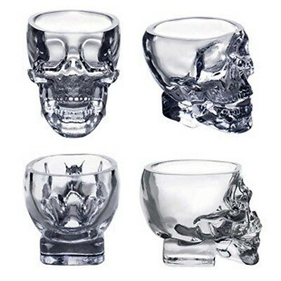 Crystal Glass Vodka Whiskey Skull Head Shot Cup Drinking Ware Home & Bar 73ml@GE