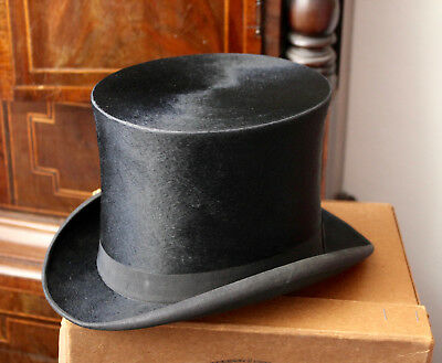 An Antique Silk Top Hat, VICKERY & CO, Size S, UK 6.5, 53.5cm