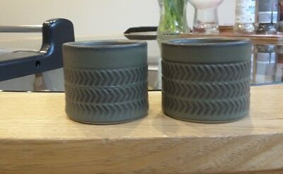 DENBY CHEVRON - Vintage 1960's Egg cups x 2 -  3 Band - Olive Green