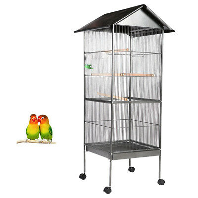 155cm Large Bird Cage Parrot Aviary Pet Stand-alone Budgie Perch Castor Wheels