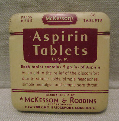 Vintage Advertising Tin-McKESSON-ROBBINS ASPIRIN-36 Tablets-Health Medical Drug