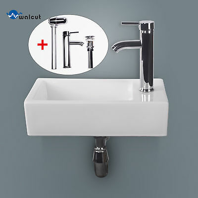 White Porcelain Wall Mount Bathroom Ceramic Sink Chrome Faucet Rectangular New