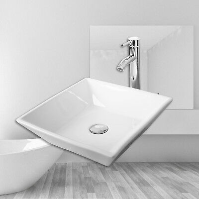 White Bathroom Ceramic Porcelain Vessel Sink Bowl Basin w/Chrome Faucet Drain