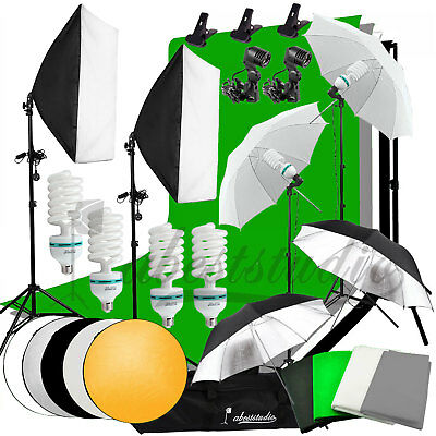 Photography 4 Backdrops +Stand Set Photo Studio Softbox Lighting Video Light Kit