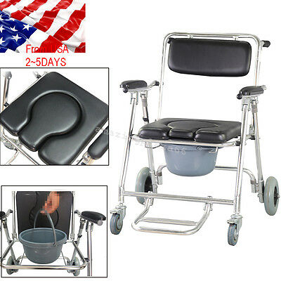 Shower Bedside Commode Wheelchair Toilet Chair Removable Aluminum Comfort