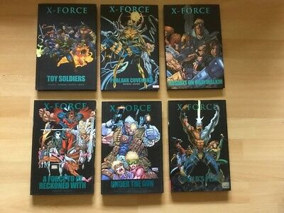 Lot of 6 X-Force Marvel hardcover books in good to very good condition