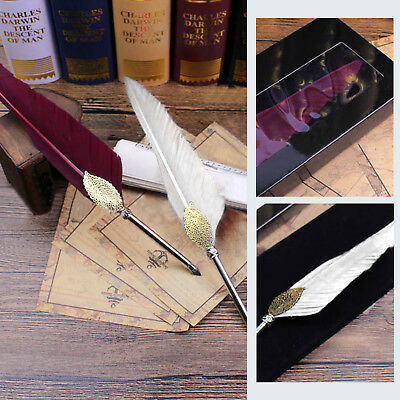 Feather Quill Metal Nib Brown Dip Pen Writing Ink Set Box Gift 2 Colors