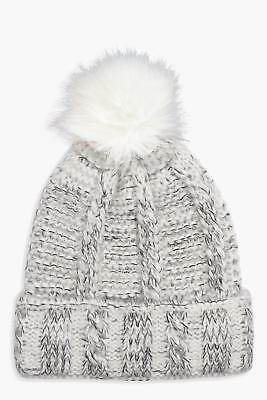 NEW Boohoo Womens Nico Fleece Lined Knitted Pom Beanie in Grey size One Size