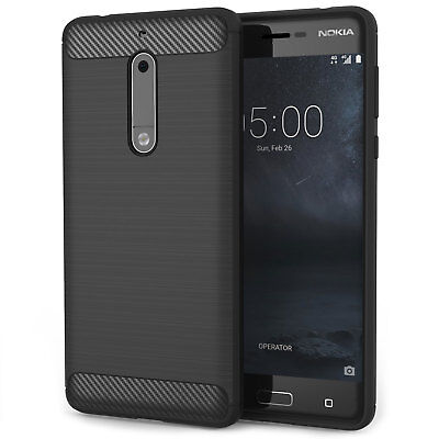 Soft Slim Silicone TPU Gel Carbon Fibre Pattern Phone Case Cover for the Nokia 5