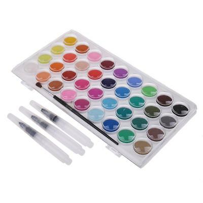 36 Colors Solid Watercolor Paints Set With Water Brush Pen Painting Art Kit