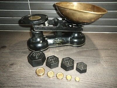 Vintage - Retro Salter Black Kitchen Scales And Weights - Cast Iron - Brass Pan
