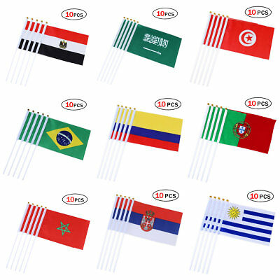 10pcs Hand Waving Flags on Sticks World Cup Fan Party Celebration Flags 14*21cm