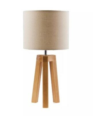 Tripod Table Lamp Bedside Wooden Wood Beige Natural Light Lampshade Electric