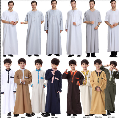 Mens Kids Boys Dubai Thobe Arab Robe Dishdasha Islamic Jilbab Kaftan Maxi Dress