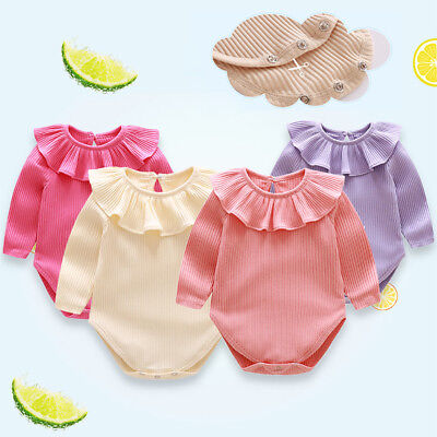 Baby Infants Spring Autumn Long Sleeve Lotus Leaf Collar Romper Jumpsuit Nice