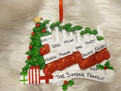 """Brand New Personalised Christmas Tree Decoration """" 9 Stockings On The Banister """""""
