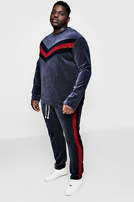 NEW Boohoo Mens Big And Tall Velour Panelled Sweater Tracksuit in Cotton