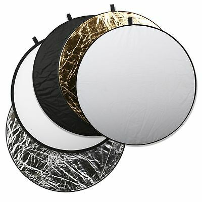 "Photo Studio 5 in1 80cm 32"" Light Diffuser Round Reflector Disc + Carrying Bag"