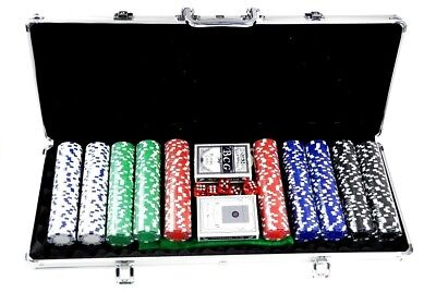Pokerset Pokerkoffer Pokerchips 500 Laser Chips Alu Koffer Poker Set