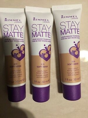 3×Rimmel Stay Matte Foundation - Soft Beige