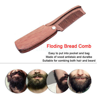 Sandalwood Beauty Comb Folding Travel Pocket Clip Hair Mustache Beard Comb