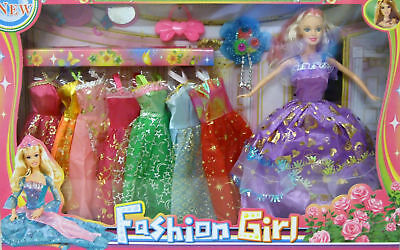 "Kids Fashion Girl To 10"" Doll Complete With 8 Dresses And Accessories For Girls"