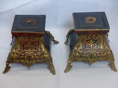 Pair Antique 19th Century French Boulle 'faux' Tortoiseshell Garniture Clock