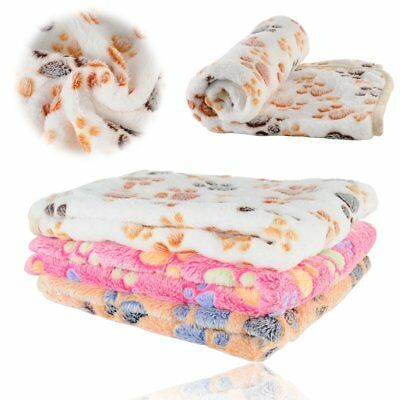 Puppy Blanket for Pet Cushion Small Dog Cat Bed Soft Warm Sleep Mat Paw Print