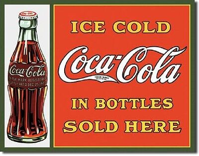 Coca Cola Coke Sold Here in Bottles Advertising Vintage Retro Metal Tin Sign New