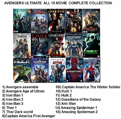 AVENGERS ULTIMATE MARVEL 15 MOVIES DVD Complete Collection UK Rele New Sealed R2