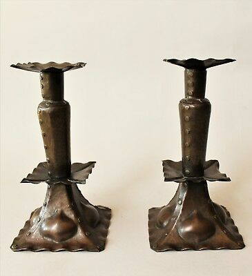 Pair of Arts and Crafts Copper Candlesticks