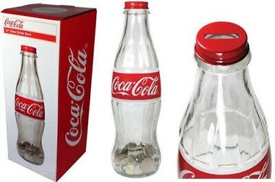 Coca Cola Coke Glass Display Bottle Bank With Cap