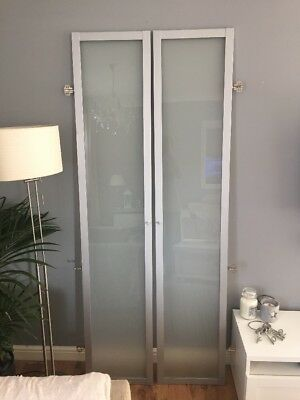 Ikea Pair Of Glass Doors For Billy Bookcase Silver And Frosted