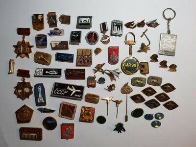 Job Lot Vintage Aircraft Show Pins Badges from 1960's to 90's USSR CCCP USA