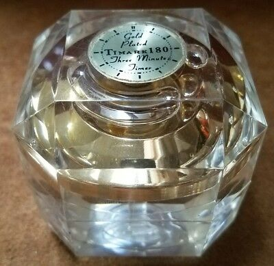 Rare Vintage Lucite Timark 180 Three minute timer Hour Glass Paperweight 24k Pla
