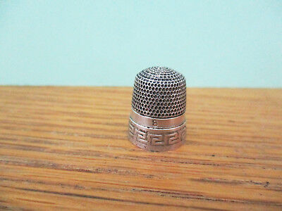 Antique Simons Brothers Sterling Silver Sewing Thimble Greek Key Design 8