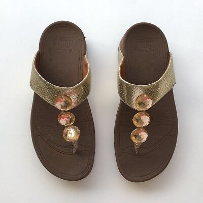 3753276b41dd Womens FitFlop Petra Fashion Thong Sandals Flip Flops Gold Brown Size 7  475-308