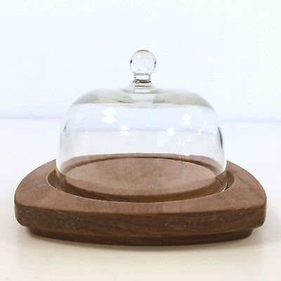 Vintage Mini Glass Cloche Dome Wooden Tray Serving Wood Carved Display