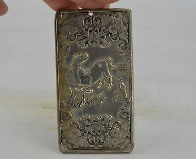 Collectible Decorated Old Tibet Silver Handwork Carved 12 Zodiac&Horse Pendant