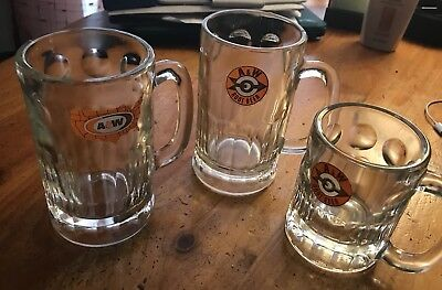Vintage A&W Root Beer Soda Mini Mug Full Size Embossed Logo Lot Of 3