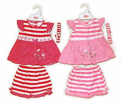 Baby Girls Dress Top Shorts Bloomer Set with Headband 0-9 months GREAT PRICE!