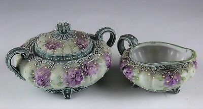 Japanese Hand Painted Nippon Moriage Covered Sugar & Creamer No Reserve