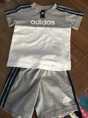 Brand New With No Tags Baby Boys Adidas Shorts And Tshirt Set Age 6-9 Months