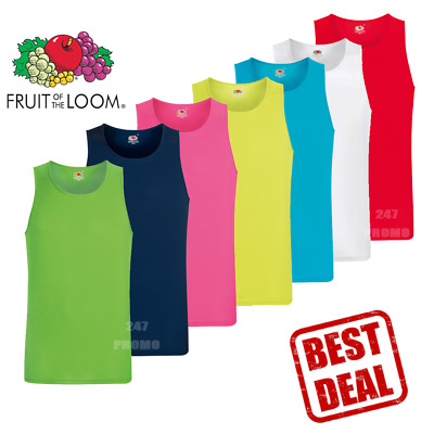 Fruit of the Loom MEN'S VEST SPORT GYM TANK TOP ATHLETIC FIT QUICK DRY SUMMER