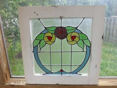 Vintage Leaded Stained Glass Window Rose Floral Frame Sash Wall Art Shabby Chic