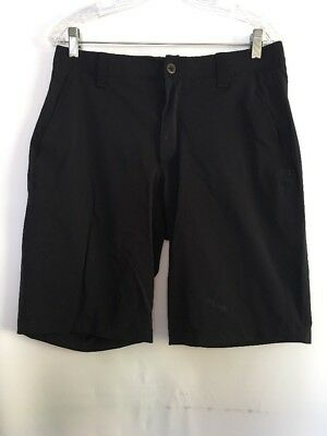 Mens Under Armour Black Shorts Performance Athletic Stretch Flat Front 34