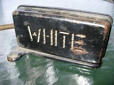 Antique (WHITE) Sewing Machine Foot Pedal,STEAMPUNK SIGN ART