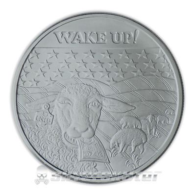 .999 Silver 1oz Crescent City 2017 Wake Up! Sheep Round BU in Coin Capsule - NEW