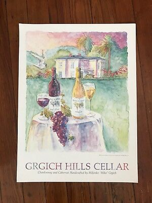 "Grgich Hills Napa Valley Wine Poster  18"" x 24"" Watercolor Chardonnay & Cabernet"
