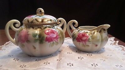 Hand Painted Antique Nippon Sugar And Creamer Bowls